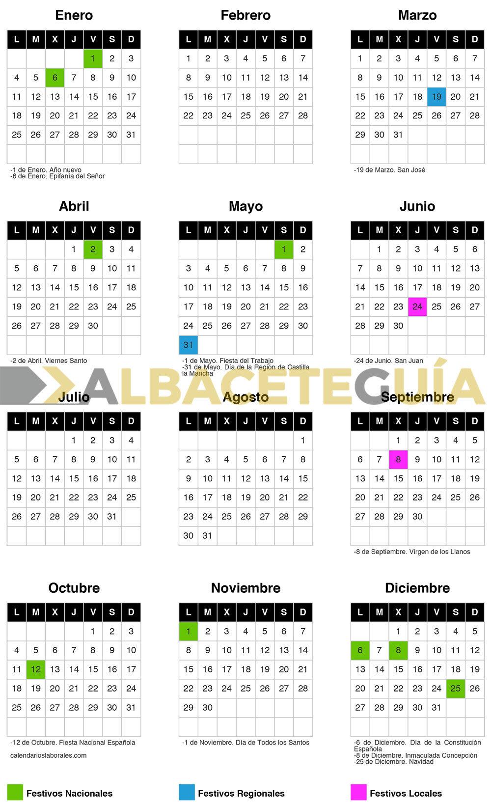 Calendario laboral 2021 para Albacete